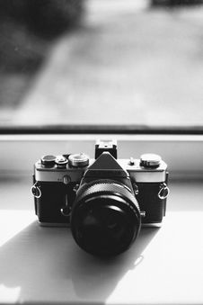 Free Grayscale Photography Of Olympus Dslr Camera Near The Mirror Stock Photo - 119467340