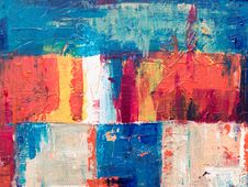 Free Red, Blue, And White Abstract Painting Stock Images - 119467474