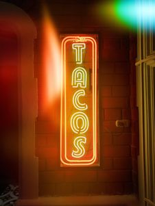 Free Tacos Led Signage Stock Photo - 119554240
