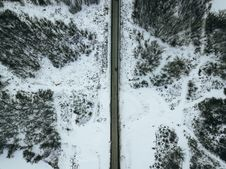 Free Aerial Photo Of Gray Concrete Road During Winter Royalty Free Stock Photo - 119611275
