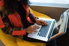Free Person Using Laptop Computer Stock Photography - 119666262
