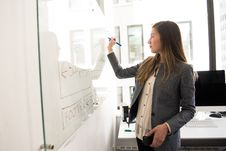 Free Woman Wearing Gray Blazer Writing On Dry-erase Board Stock Images - 119666414
