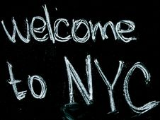 Free Black Background With Welcome To Nyc Text Overlay Royalty Free Stock Image - 119844766