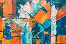 Free Blue, Orange, And White Abstract Painting Stock Photo - 119844790
