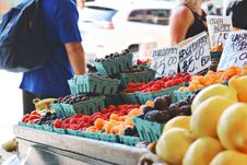 Free Man Wearing Blue Top And Black Bottom Standing Near Fruit Stand Royalty Free Stock Image - 119844886