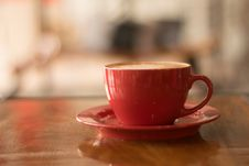 Free Red Ceramic Mug On Red Saucer Royalty Free Stock Image - 119844906
