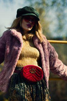 Free Women S Purple Fleece Coat Stock Images - 119926224