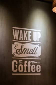 Free Wake Up Smell The Coffee Wall Decoratio Royalty Free Stock Photos - 119926238