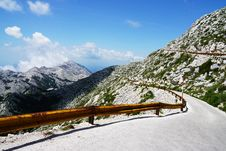 Free Photo Of Narrow Paved Mountain Road With Barrier. Royalty Free Stock Photography - 119926297