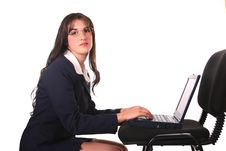 Free Businesswoman Laptop And Chair Stock Image - 123511