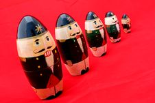 Free Nested Nutcrackers On Red 2 Royalty Free Stock Photos - 128508
