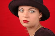 Free Woman In Black Hat Stock Image - 128881