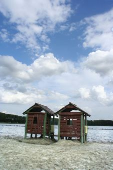 Free Beach Cabins Royalty Free Stock Photography - 128897