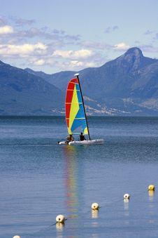 Catamaran In A Lake Royalty Free Stock Image