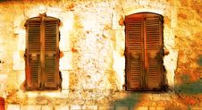 Free Grungy Pair Of Windows With Shutters Royalty Free Stock Photo - 1201255