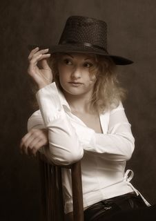 The Beautiful Girl In A Hat Stock Photos