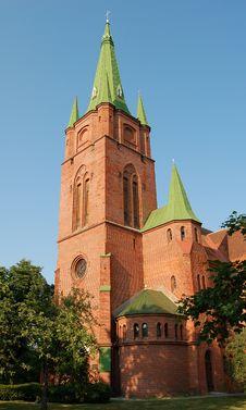 Ancient Red Brick Church Stock Photo