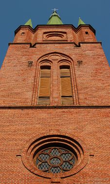 Ancient Red Brick Church Stock Photography