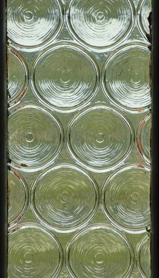Free Window Panel With Circular Impressions In Glass Stock Image - 1204691