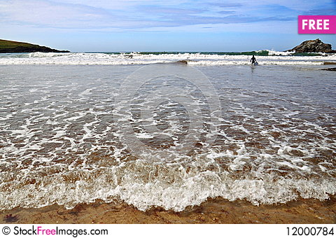 Free Low Tide Beach - Atlantic Coast, Cornwall, UK Stock Images - 12000784