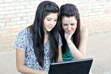 Free Diverse Teen Girls On Laptop Stock Photography - 12000902