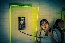 Free Woman Holding Rotary Telephone Stock Images - 120074774