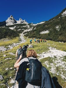 Free Group People Hiking On Hill Royalty Free Stock Photo - 120142595