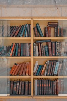 Free Assorted-title Of Books Inside Brown Wooden Framed Glass Wall-mount Cabinet Stock Image - 120192581