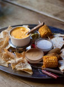 Free Corn Cub And Sauces On Plate Stock Image - 120462631