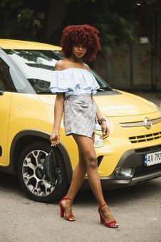 Free Woman Wearing White Off-shoulder Dress Standing Next To Yellow Fiat 500 Royalty Free Stock Photography - 120462757