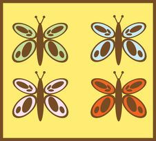 Free Butterfly Card Icons Royalty Free Stock Photos - 12078038