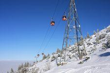 Cable Car Ski Lift Over Mountains. Bulgaria Stock Image