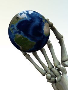 Skeleton Hand And The Earth 4 Stock Photos