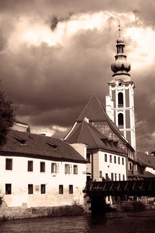 Free Czech Krumlov Cathedral View Royalty Free Stock Photo - 1212135