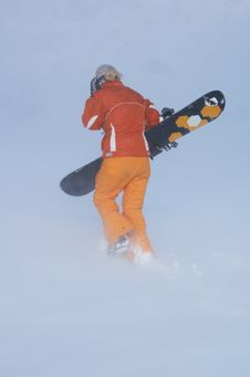 Snowboard Girl On Snowstorm Stock Photo