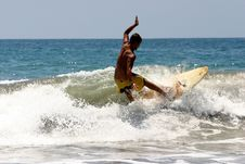 Tropical Beach Man Surfing Royalty Free Stock Images