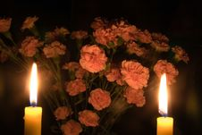 Free Candles & Carnations Stock Photo - 1215690