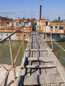 Old Boat Bridge. Stock Photos