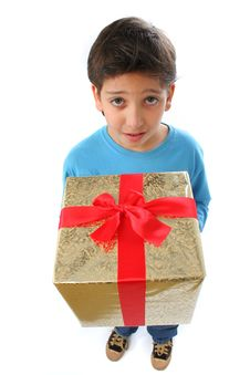 Free Boy With A Christmas Gift Royalty Free Stock Photography - 1216827