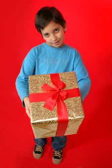 Free Boy With A Christmas Gift Royalty Free Stock Images - 1216839