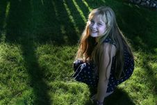 Free Pretty Girl On Grass Royalty Free Stock Image - 1217806