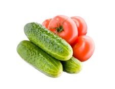 Free Fresh Tomatoes And Cucumbers Royalty Free Stock Photography - 12117227