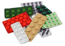 Free Packings Of Colour Tablets Royalty Free Stock Photo - 12173765