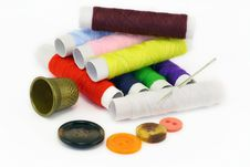 Free Multi-coloured Threads And Needles Royalty Free Stock Image - 12187256