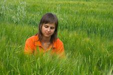 Free Orange Girl Looking At Wheat Field Stock Photos - 1223903