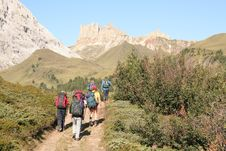 Trekkers In The Dolomites Royalty Free Stock Photos