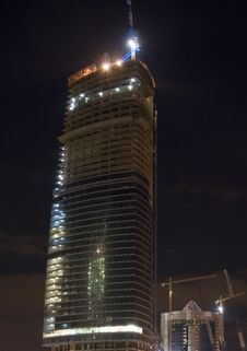 Free Construction Of Moscow Business Center, Night Scene 1 Royalty Free Stock Image - 1227806