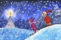 Free Kids Skiing In Xmas Night Stock Images - 12235484