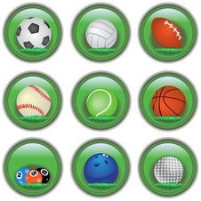 Green Sport Buttons Stock Photography