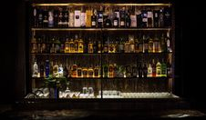 Free Bar, Distilled Beverage, Liquor Store, Night Stock Photo - 122828040